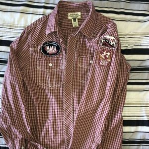 AMERICAN RAG Long-sleeve button down w/ patches M